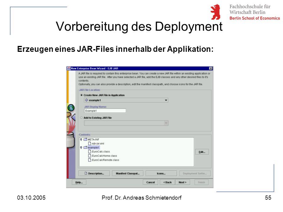 55 Prof. Dr. Andreas Schmietendorf03.10.2005 Vorbereitung des Deployment Erzeugen eines JAR-Files innerhalb der Applikation: