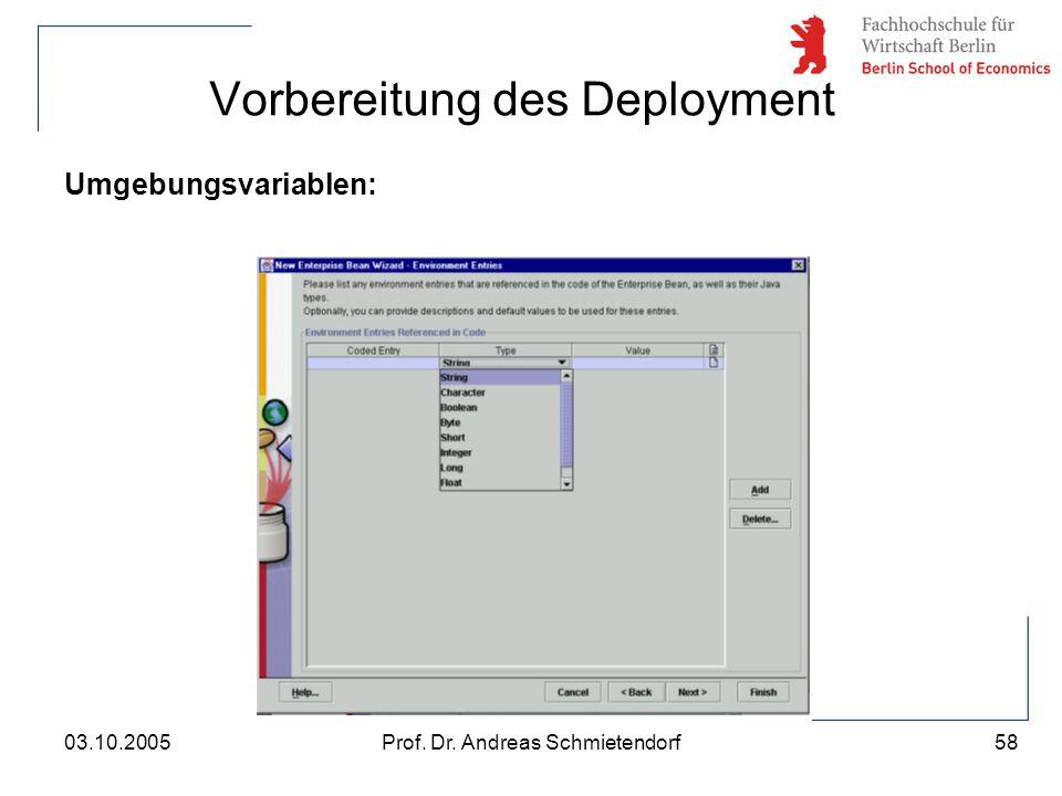 58 Prof. Dr. Andreas Schmietendorf03.10.2005 Vorbereitung des Deployment Umgebungsvariablen: