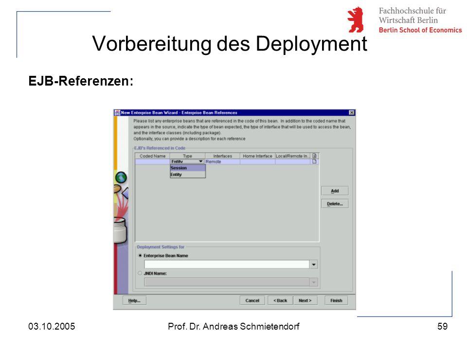 59 Prof. Dr. Andreas Schmietendorf03.10.2005 Vorbereitung des Deployment EJB-Referenzen: