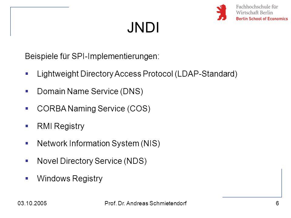 6 Prof. Dr. Andreas Schmietendorf03.10.2005 Beispiele für SPI-Implementierungen:  Lightweight Directory Access Protocol (LDAP-Standard)  Domain Name