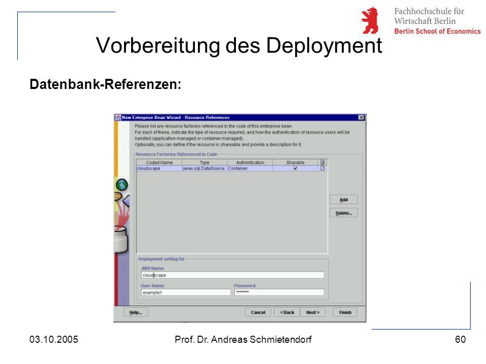 60 Prof. Dr. Andreas Schmietendorf03.10.2005 Vorbereitung des Deployment Datenbank-Referenzen:
