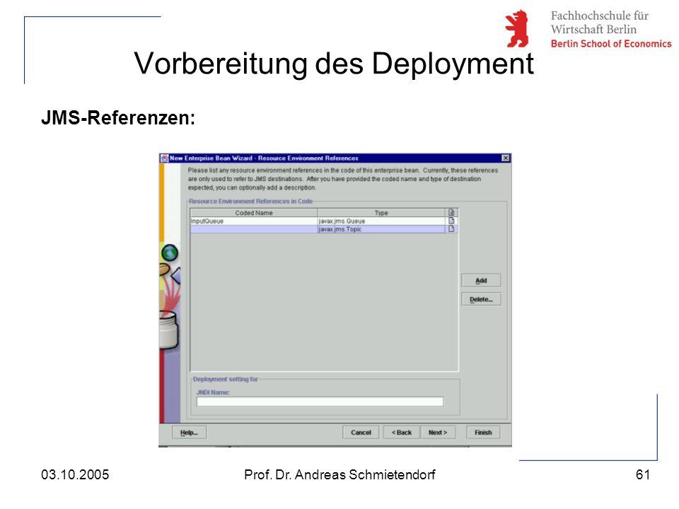 61 Prof. Dr. Andreas Schmietendorf03.10.2005 Vorbereitung des Deployment JMS-Referenzen: