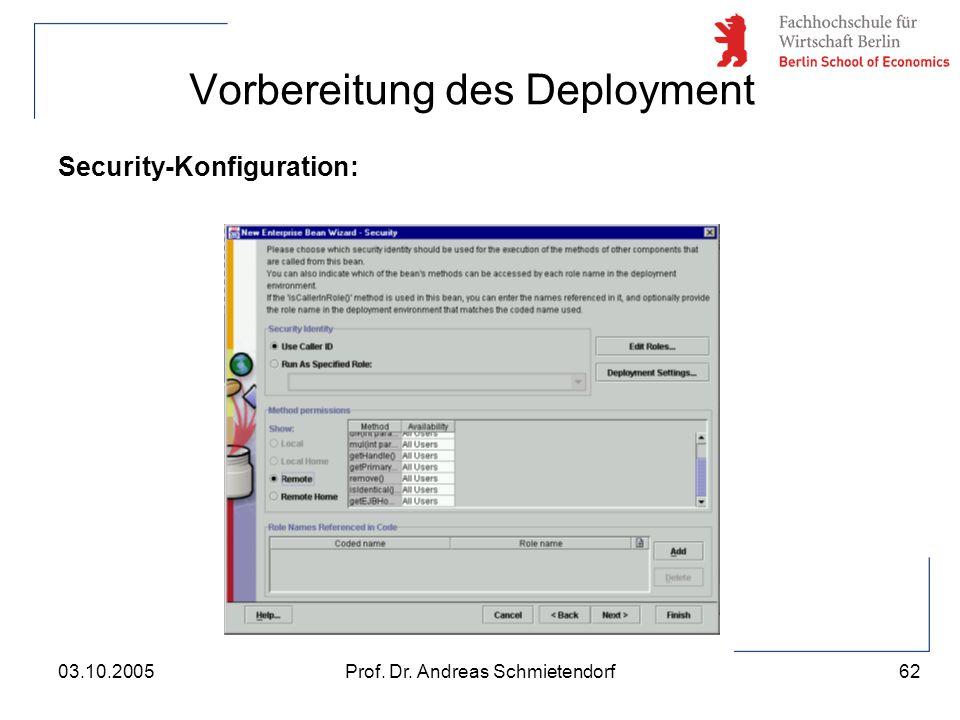 62 Prof. Dr. Andreas Schmietendorf03.10.2005 Vorbereitung des Deployment Security-Konfiguration: