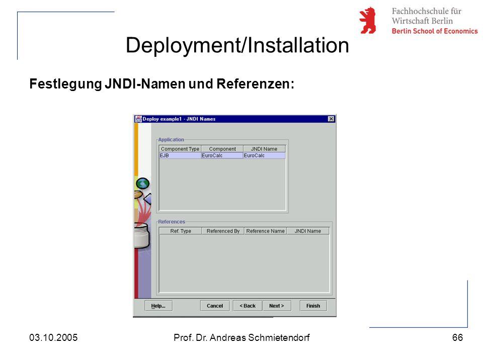 66 Prof. Dr. Andreas Schmietendorf03.10.2005 Deployment/Installation Festlegung JNDI-Namen und Referenzen: