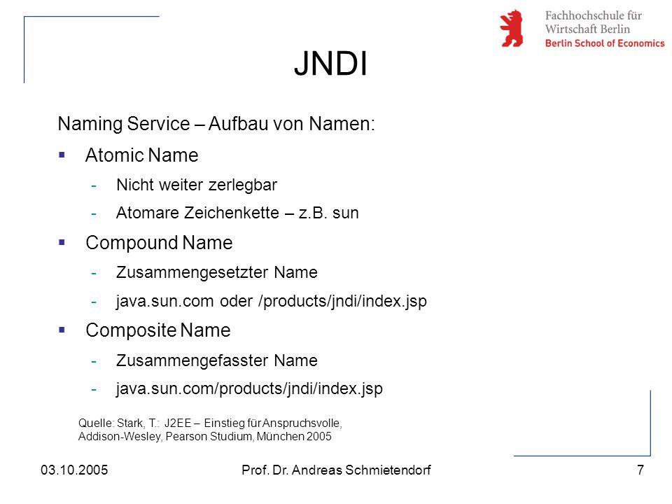 7 Prof. Dr. Andreas Schmietendorf03.10.2005 Naming Service – Aufbau von Namen:  Atomic Name -Nicht weiter zerlegbar -Atomare Zeichenkette – z.B. sun