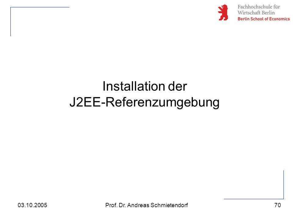 70 Prof. Dr. Andreas Schmietendorf03.10.2005 Installation der J2EE-Referenzumgebung