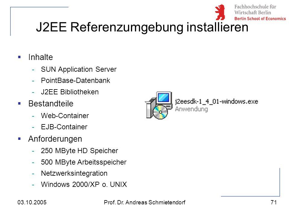 71 Prof. Dr. Andreas Schmietendorf03.10.2005 J2EE Referenzumgebung installieren  Inhalte -SUN Application Server -PointBase-Datenbank -J2EE Bibliothe