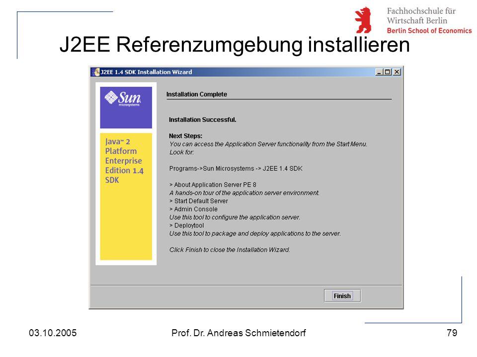 79 Prof. Dr. Andreas Schmietendorf03.10.2005 J2EE Referenzumgebung installieren