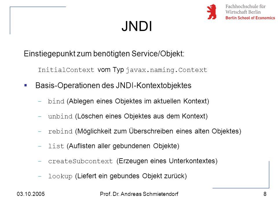 8 Prof. Dr. Andreas Schmietendorf03.10.2005 Einstiegepunkt zum benötigten Service/Objekt: InitialContext vom Typ javax.naming.Context  Basis-Operatio