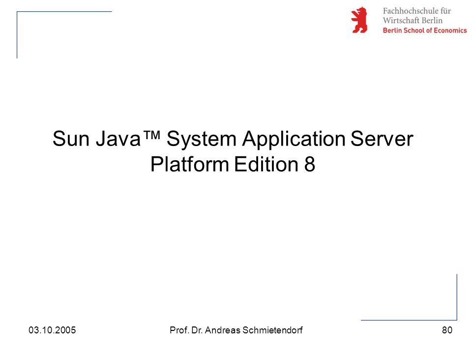80 Prof. Dr. Andreas Schmietendorf03.10.2005 Sun Java™ System Application Server Platform Edition 8
