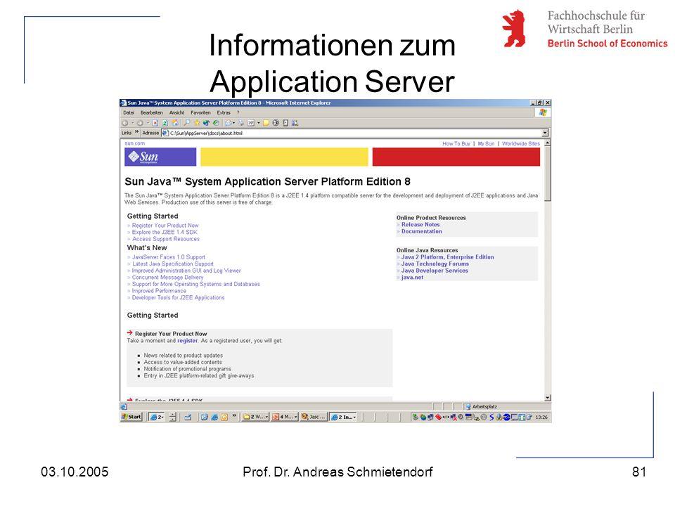 81 Prof. Dr. Andreas Schmietendorf03.10.2005 Informationen zum Application Server