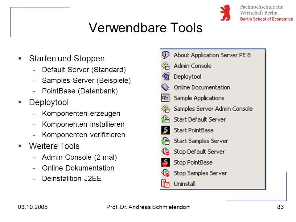 83 Prof. Dr. Andreas Schmietendorf03.10.2005 Verwendbare Tools  Starten und Stoppen -Default Server (Standard) -Samples Server (Beispiele) -PointBase