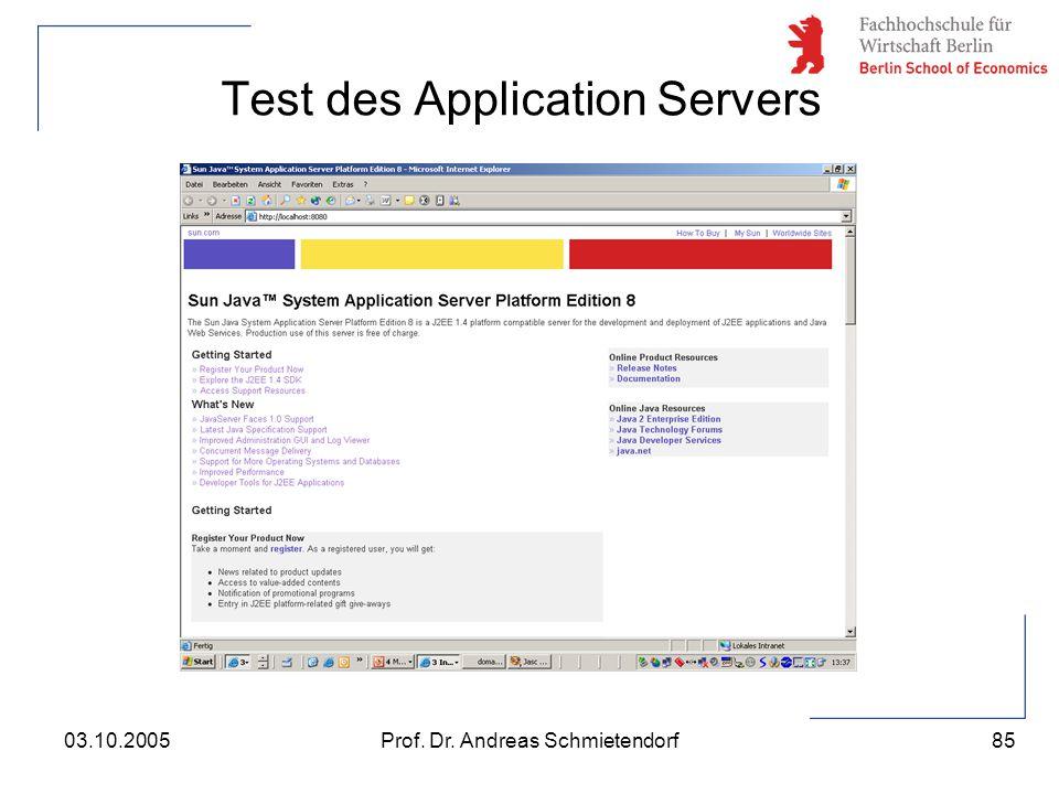 85 Prof. Dr. Andreas Schmietendorf03.10.2005 Test des Application Servers