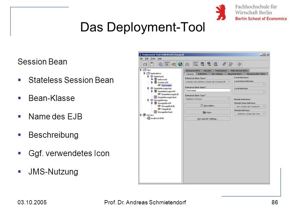 86 Prof. Dr. Andreas Schmietendorf03.10.2005 Das Deployment-Tool Session Bean  Stateless Session Bean  Bean-Klasse  Name des EJB  Beschreibung  G
