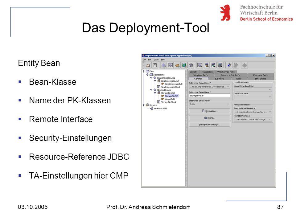 87 Prof. Dr. Andreas Schmietendorf03.10.2005 Das Deployment-Tool Entity Bean  Bean-Klasse  Name der PK-Klassen  Remote Interface  Security-Einstel