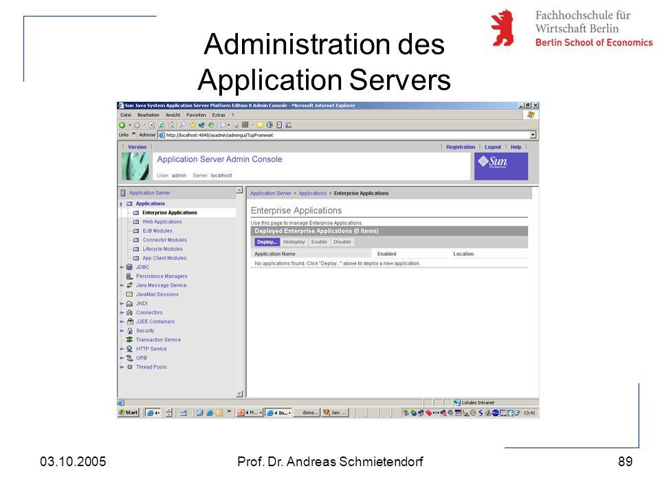 89 Prof. Dr. Andreas Schmietendorf03.10.2005 Administration des Application Servers