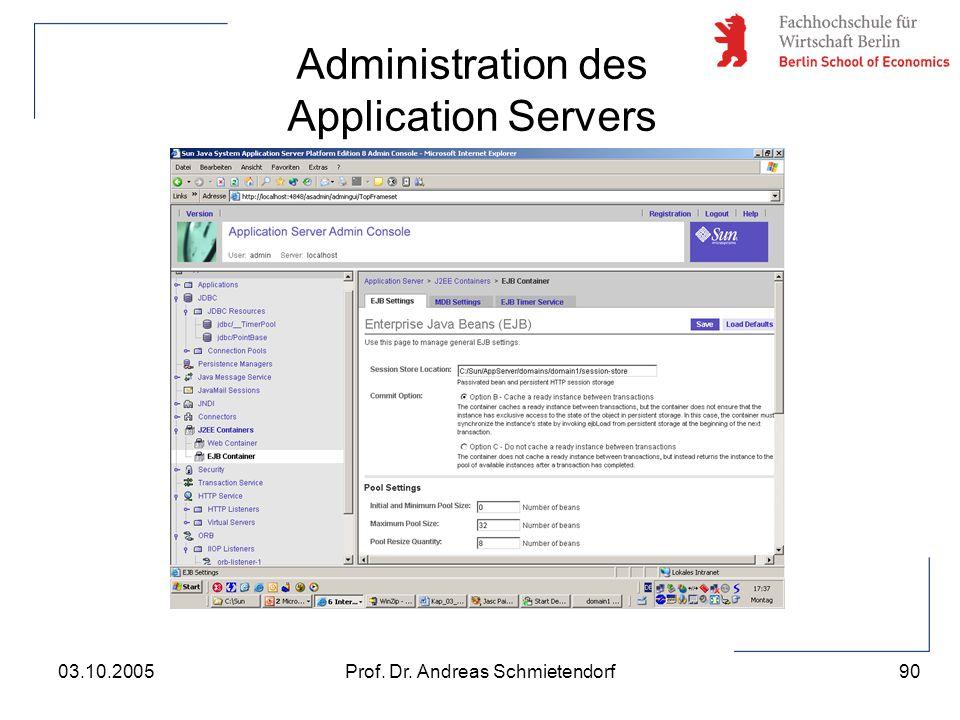 90 Prof. Dr. Andreas Schmietendorf03.10.2005 Administration des Application Servers