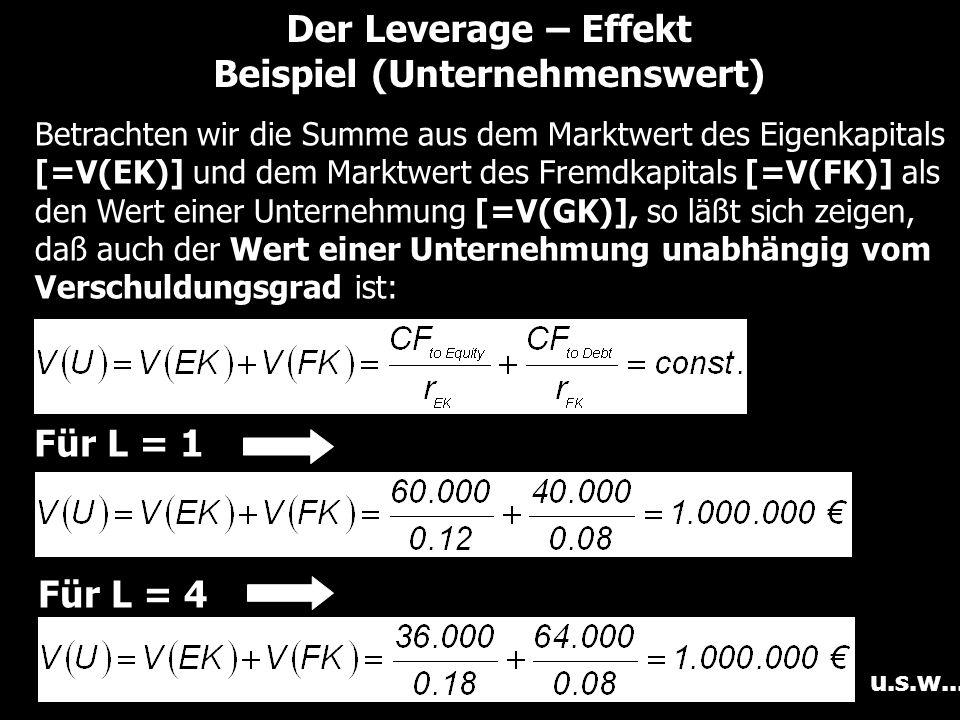 Der Leverage – Effekt Beispiel (Unternehmenswert) Betrachten wir die Summe aus dem Marktwert des Eigenkapitals [=V(EK)] und dem Marktwert des Fremdkapitals [=V(FK)] als den Wert einer Unternehmung [=V(GK)], so läßt sich zeigen, daß auch der Wert einer Unternehmung unabhängig vom Verschuldungsgrad ist: Für L = 4 u.s.w...