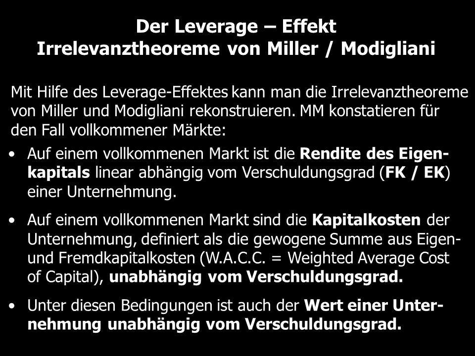 Der Leverage – Effekt Irrelevanztheoreme von Miller / Modigliani Mit Hilfe des Leverage-Effektes kann man die Irrelevanztheoreme von Miller und Modigliani rekonstruieren.