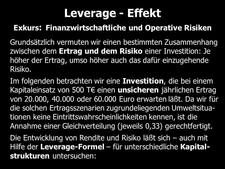 Leverage - Effekt Exkurs : Finanzwirtschaftliche und Operative Risiken Grundsätzlich vermuten wir einen bestimmten Zusammenhang zwischen dem Ertrag un