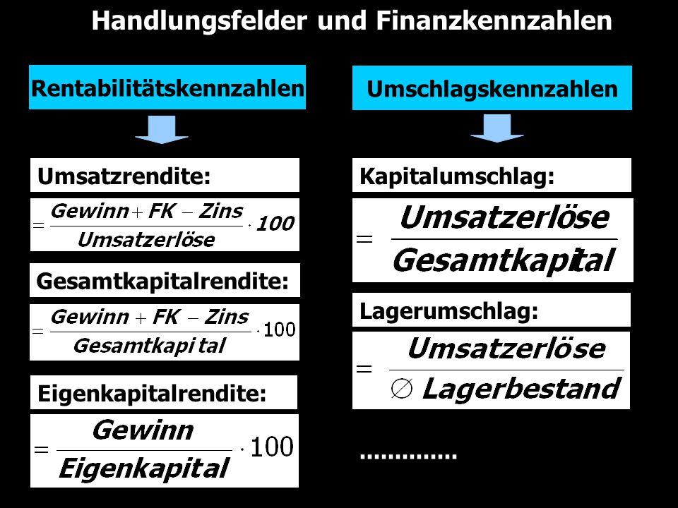 Handlungsfelder und Finanzkennzahlen Kapitalumschlag: Eigenkapitalrendite: Gesamtkapitalrendite: Umsatzrendite: Rentabilitätskennzahlen Umschlagskennz