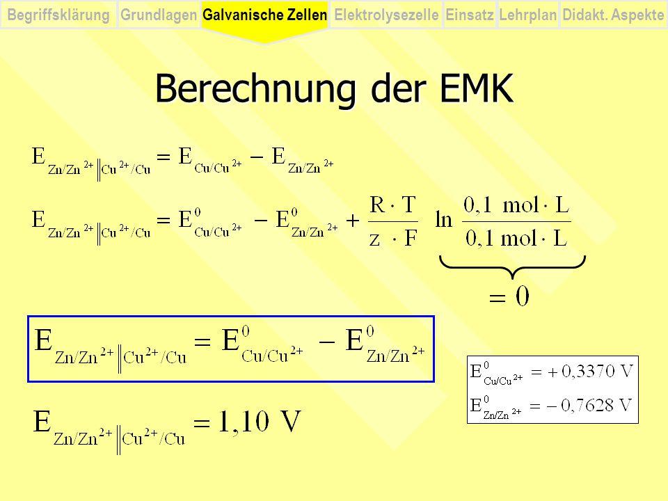 BegriffsklärungElektrolysezelleGalvanische ZellenEinsatzLehrplanDidakt. Aspekte Grundlagen Berechnung der EMK Galvanische Zellen