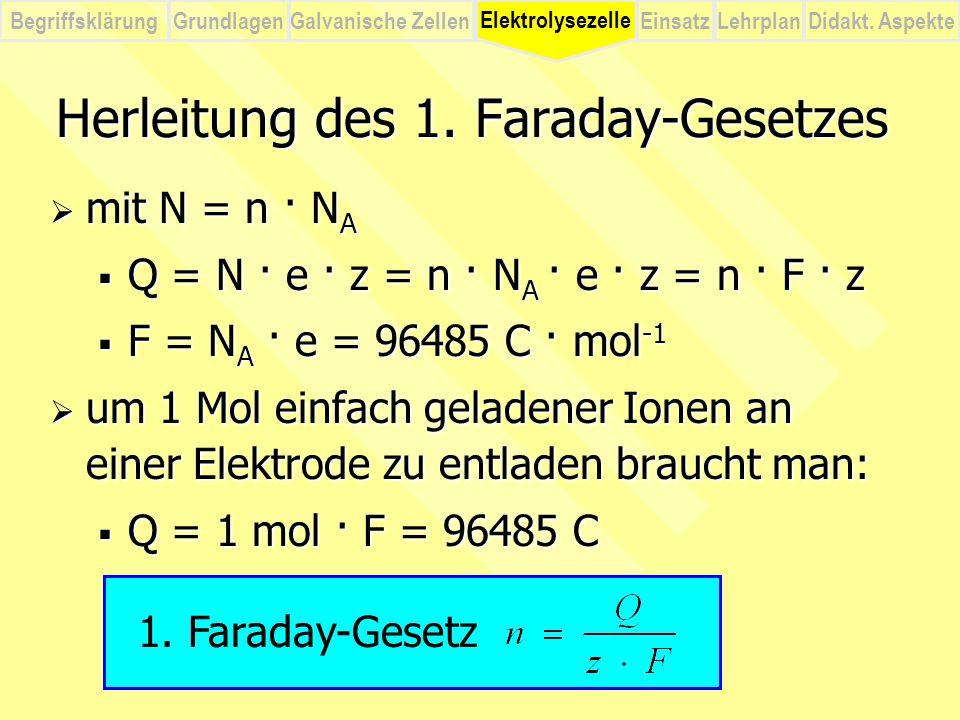 BegriffsklärungElektrolysezelleGalvanische ZellenEinsatzLehrplanDidakt. Aspekte Grundlagen  mit N = n · N A  Q = N · e · z = n · N A · e · z = n · F