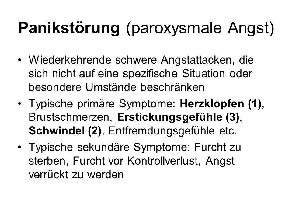 Panikstörung (paroxysmale Angst) Wiederkehrende schwere Angstattacken, die sich nicht auf eine spezifische Situation oder besondere Umstände beschränk