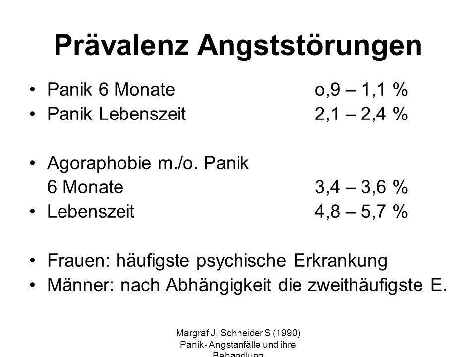 Margraf J, Schneider S (1990) Panik- Angstanfälle und ihre Behandlung Prävalenz Angststörungen Panik 6 Monateo,9 – 1,1 % Panik Lebenszeit 2,1 – 2,4 %