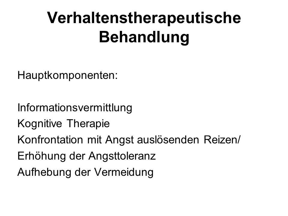 Verhaltenstherapeutische Behandlung Hauptkomponenten: Informationsvermittlung Kognitive Therapie Konfrontation mit Angst auslösenden Reizen/ Erhöhung