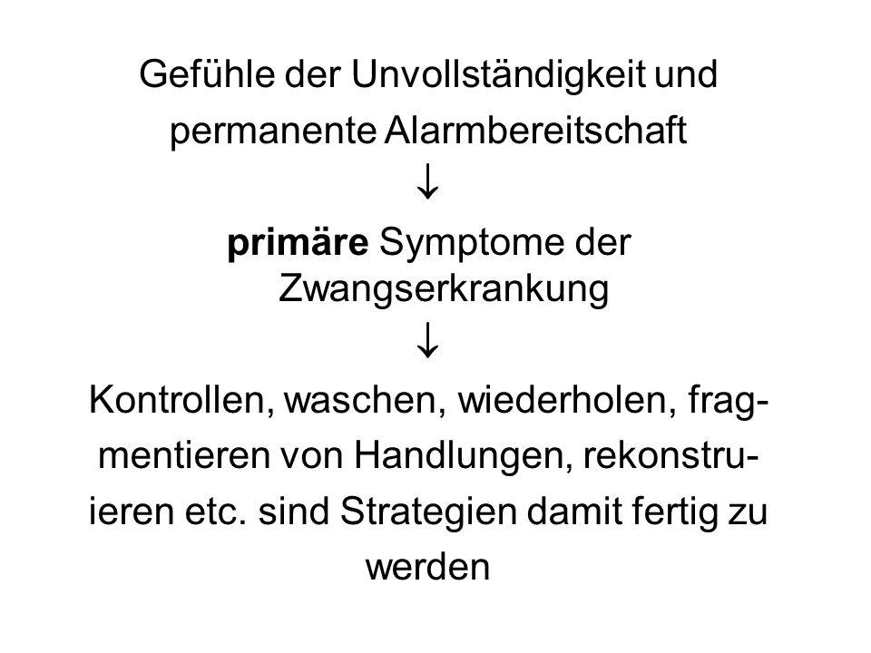Gefühle der Unvollständigkeit und permanente Alarmbereitschaft  primäre Symptome der Zwangserkrankung  Kontrollen, waschen, wiederholen, frag- menti
