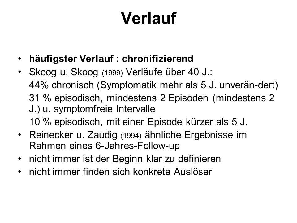 Verlauf häufigster Verlauf : chronifizierend Skoog u. Skoog (1999) Verläufe über 40 J.: 44% chronisch (Symptomatik mehr als 5 J. unverän-dert) 31 % ep