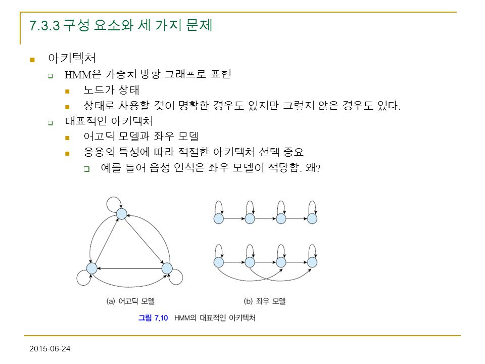2015-06-24 7.3.3 구성 요소와 세 가지 문제 아키텍처  HMM 은 가중치 방향 그래프로 표현 노드가 상태 상태로 사용할 것이 명확한 경우도 있지만 그렇지 않은 경우도 있다.  대표적인 아키텍처 어고딕 모델과 좌우 모델 응용의 특성에 따라 적절한 아키텍처