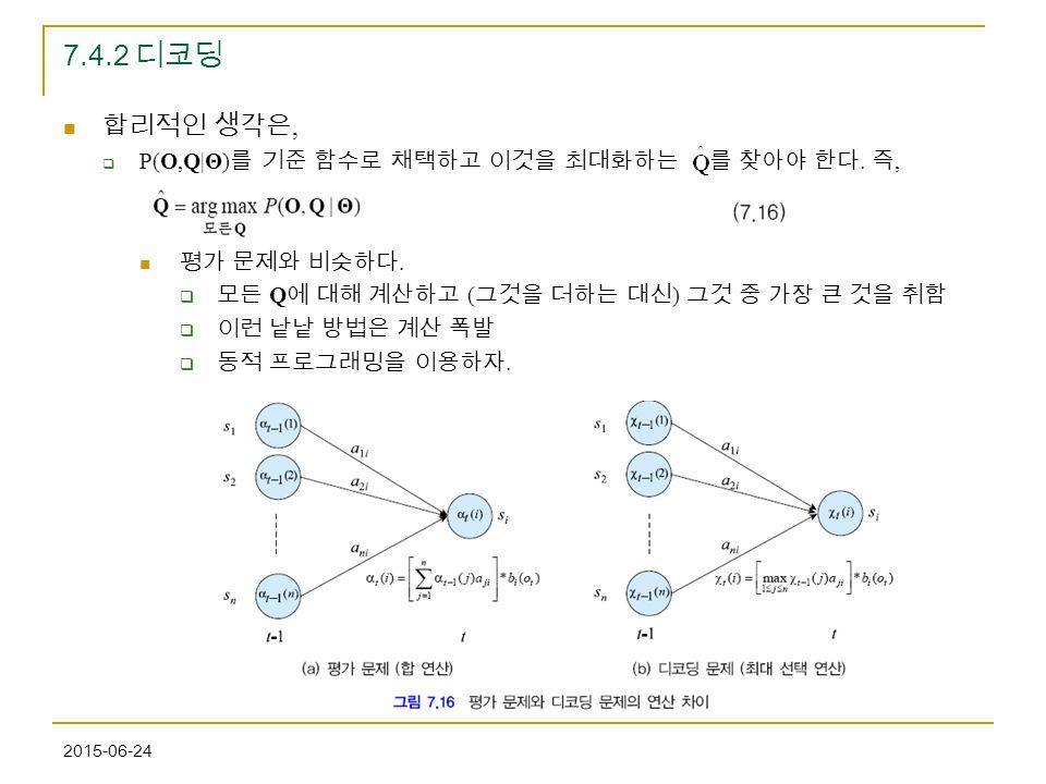 2015-06-24 7.4.2 디코딩 합리적인 생각은,  P(O,Q|Θ) 를 기준 함수로 채택하고 이것을 최대화하는 를 찾아야 한다. 즉, 평가 문제와 비슷하다.  모든 Q 에 대해 계산하고 ( 그것을 더하는 대신 ) 그것 중 가장 큰 것을 취함  이런 낱낱 방법