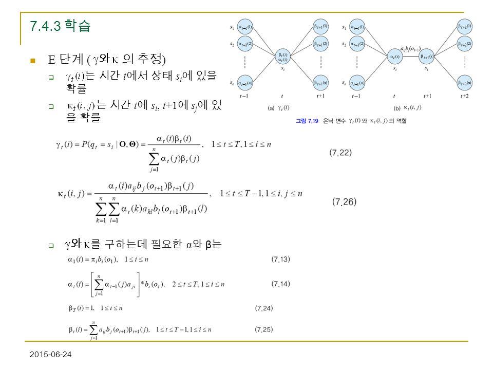 2015-06-24 7.4.3 학습 E 단계 ( 의 추정 )  는 시간 t 에서 상태 s i 에 있을 확률  는 시간 t 에 s i, t+1 에 s j 에 있 을 확률  를 구하는데 필요한 α 와 β 는