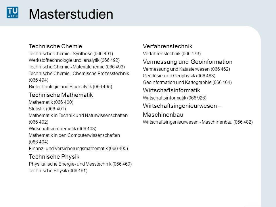 Masterstudien Technische Chemie Technische Chemie - Synthese (066 491) Werkstofftechnologie und -analytik (066 492) Technische Chemie - Materialchemie