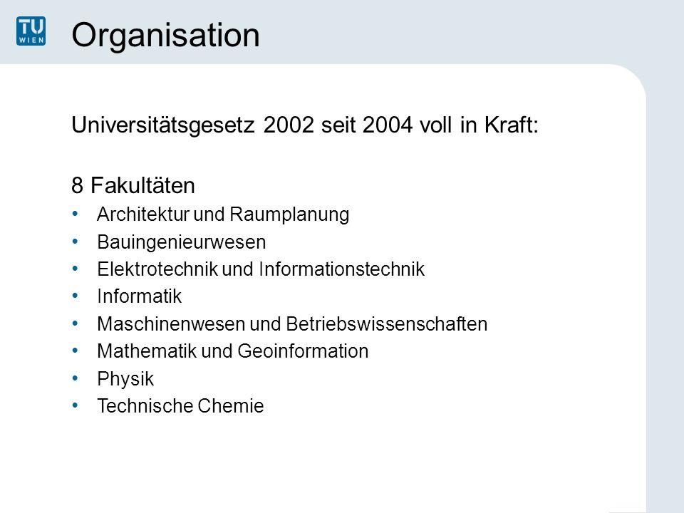 Organisation Universitätsgesetz 2002 seit 2004 voll in Kraft: 8 Fakultäten Architektur und Raumplanung Bauingenieurwesen Elektrotechnik und Informatio