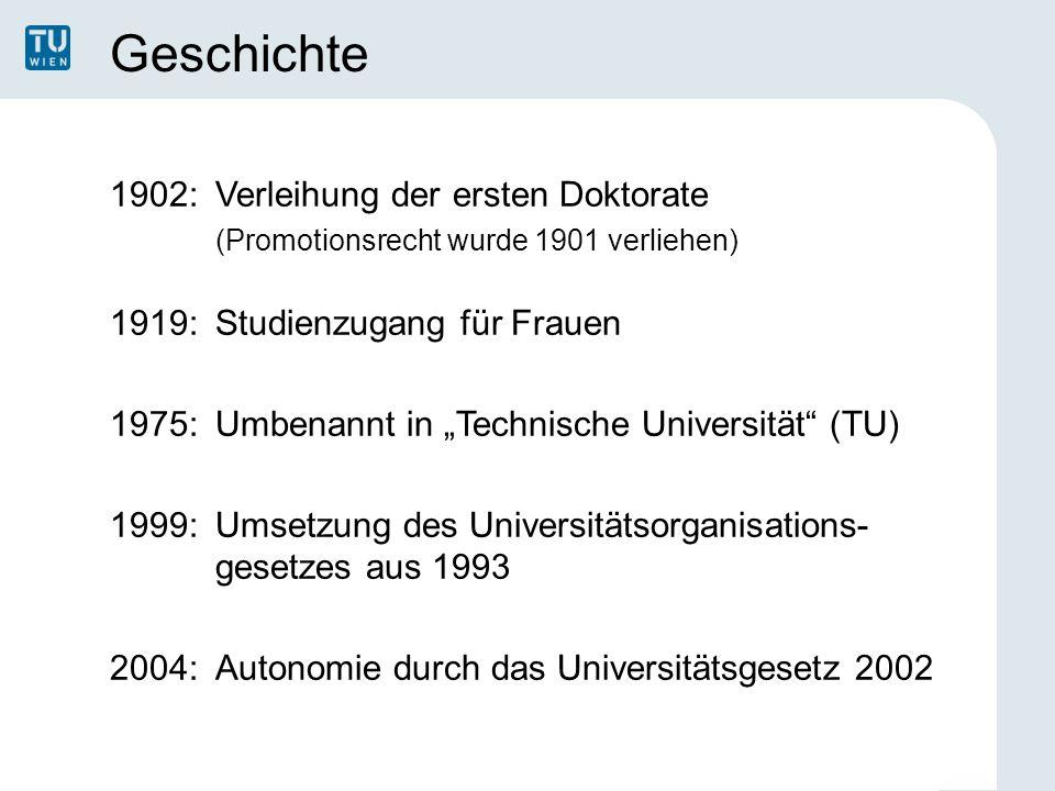 """Geschichte 1902: Verleihung der ersten Doktorate (Promotionsrecht wurde 1901 verliehen) 1919:Studienzugang für Frauen 1975: Umbenannt in """"Technische U"""