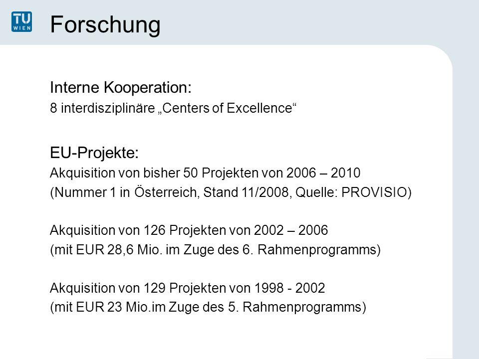 """Forschung Interne Kooperation: 8 interdisziplinäre """"Centers of Excellence"""" EU-Projekte: Akquisition von bisher 50 Projekten von 2006 – 2010 (Nummer 1"""