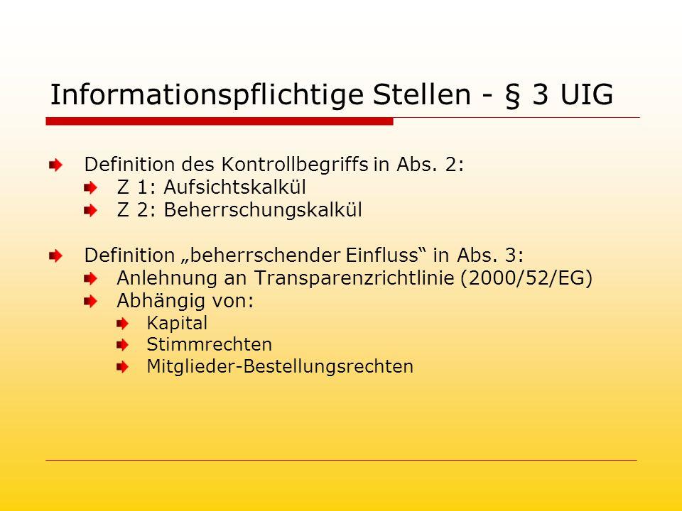 Informationspflichtige Stellen - § 3 UIG Definition des Kontrollbegriffs in Abs.