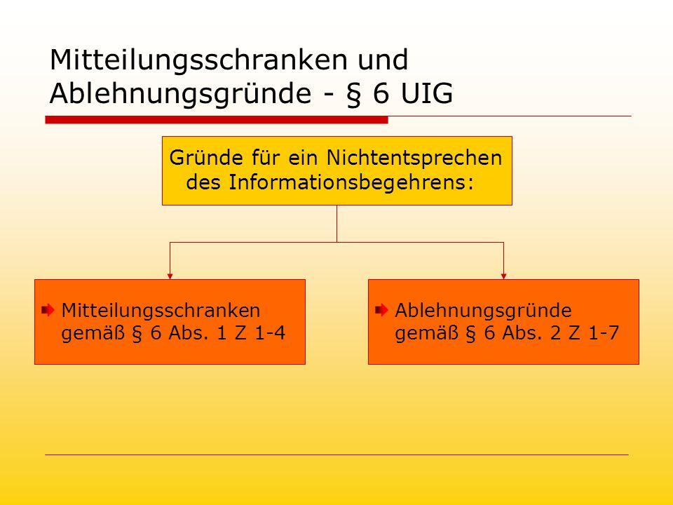Mitteilungsschranken und Ablehnungsgründe - § 6 UIG Gründe für ein Nichtentsprechen des Informationsbegehrens: Mitteilungsschranken gemäß § 6 Abs.