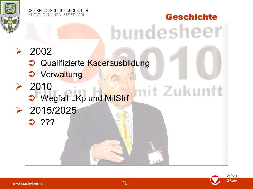 www.bundesheer.at Schutz & Hilfe ÖSTERREICHISCHES BUNDESHEER MILITÄRKOMMANDO STEIERMARK 10 Geschichte  2002  Qualifizierte Kaderausbildung  Verwaltung  2010  Wegfall LKp und MilStrf  2015/2025  ???