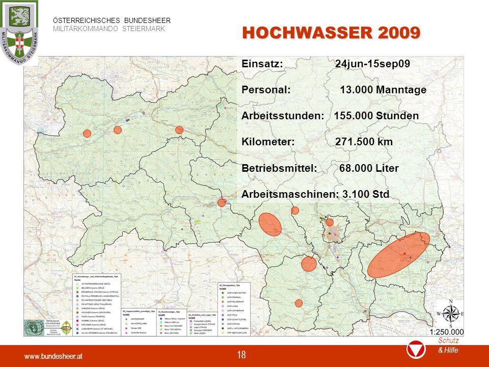 www.bundesheer.at Schutz & Hilfe ÖSTERREICHISCHES BUNDESHEER MILITÄRKOMMANDO STEIERMARK 18 HOCHWASSER 2009 Einsatz: 24jun-15sep09 Personal: 13.000 Man