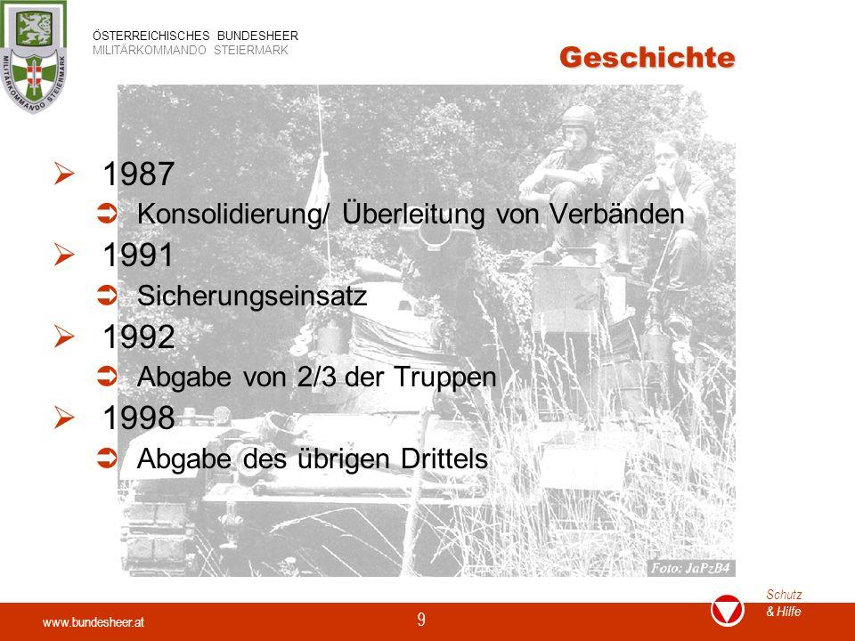 www.bundesheer.at Schutz & Hilfe ÖSTERREICHISCHES BUNDESHEER MILITÄRKOMMANDO STEIERMARK 9 Geschichte  1987  Konsolidierung/ Überleitung von Verbände