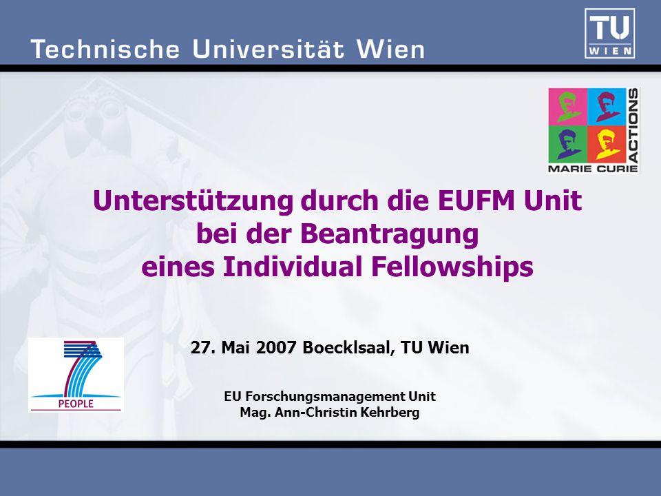 27. Mai 2007 Boecklsaal, TU Wien EU Forschungsmanagement Unit Mag.