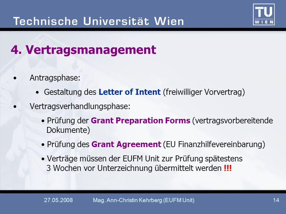 27.05.2008Mag. Ann-Christin Kehrberg (EUFM Unit)14 4.