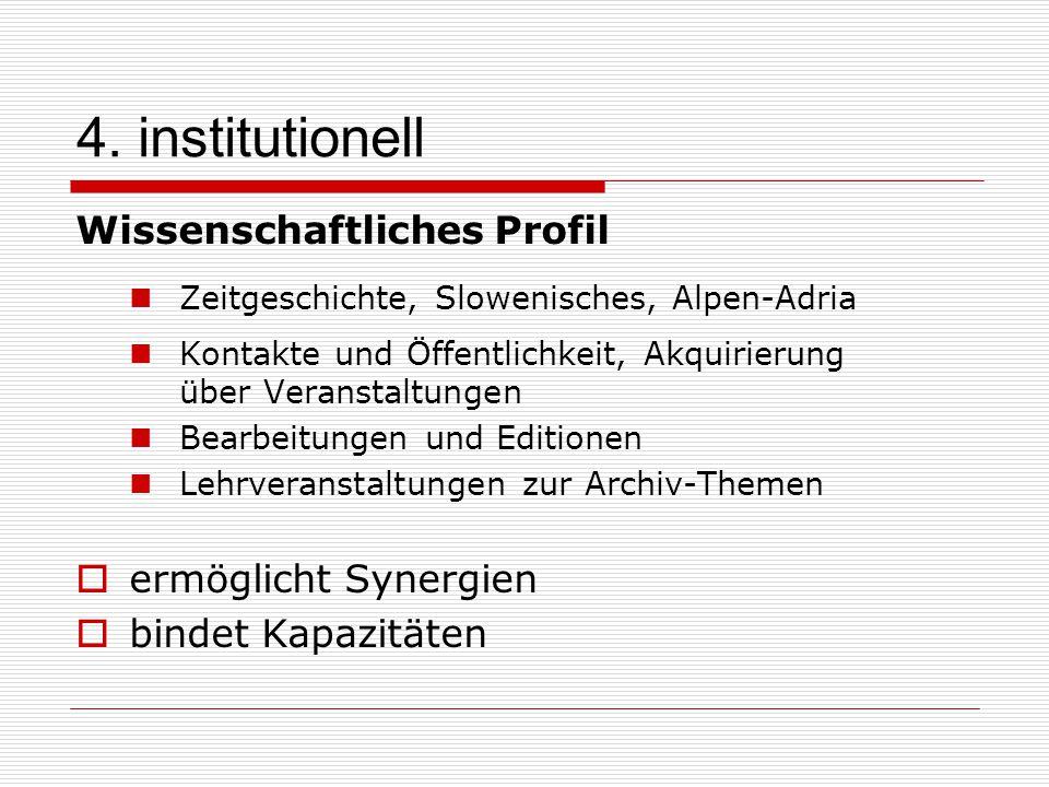 4. institutionell Wissenschaftliches Profil Zeitgeschichte, Slowenisches, Alpen-Adria Kontakte und Öffentlichkeit, Akquirierung über Veranstaltungen B