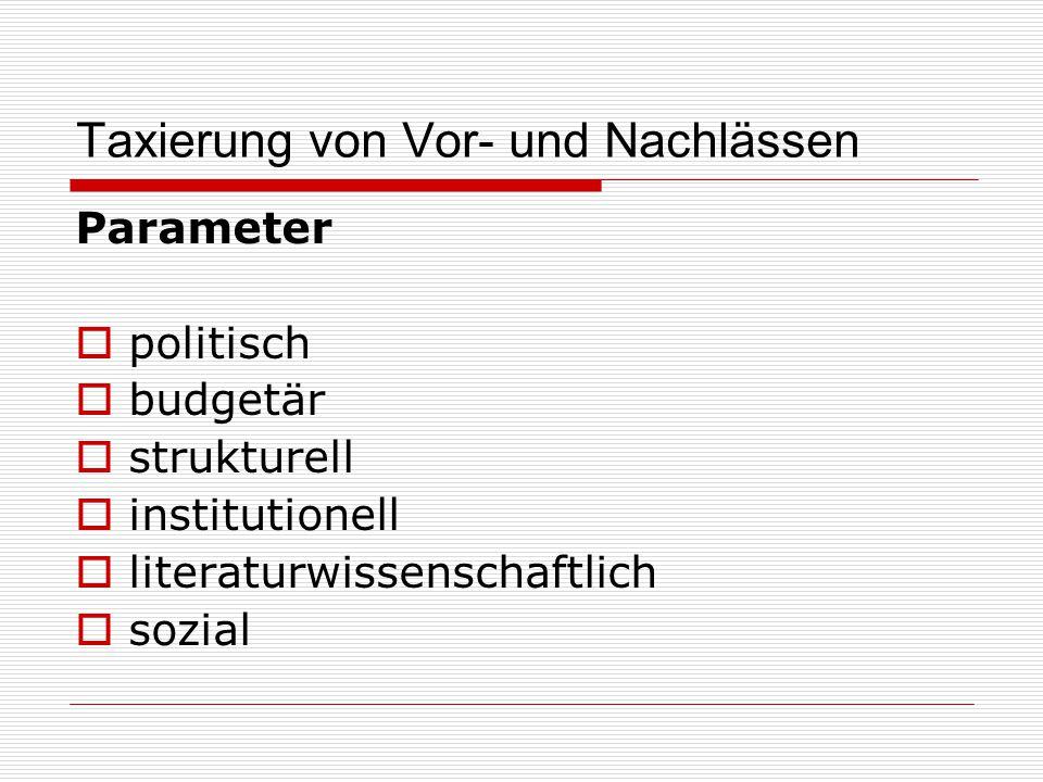 Taxierung von Vor- und Nachlässen Parameter  politisch  budgetär  strukturell  institutionell  literaturwissenschaftlich  sozial