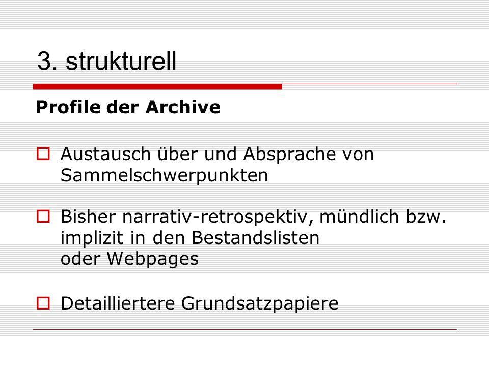 3. strukturell Profile der Archive  Austausch über und Absprache von Sammelschwerpunkten  Bisher narrativ-retrospektiv, mündlich bzw. implizit in de