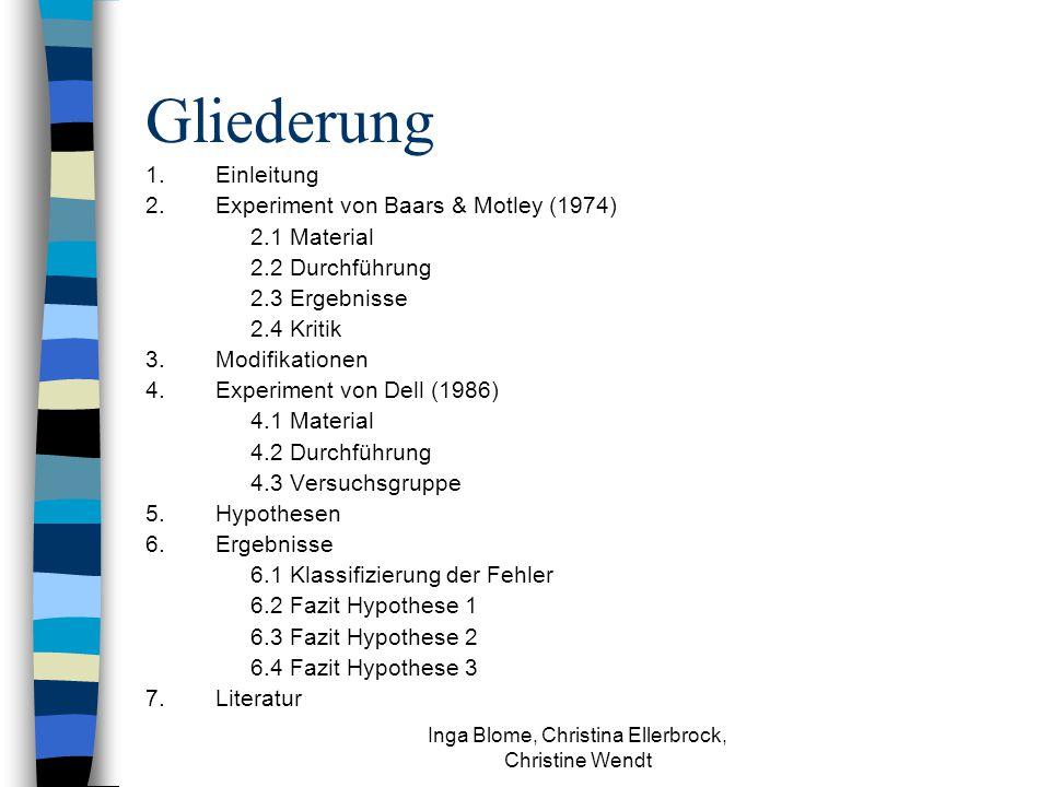 Inga Blome, Christina Ellerbrock, Christine Wendt Gliederung 1.Einleitung 2.Experiment von Baars & Motley (1974) 2.1 Material 2.2 Durchführung 2.3 Ergebnisse 2.4 Kritik 3.Modifikationen 4.